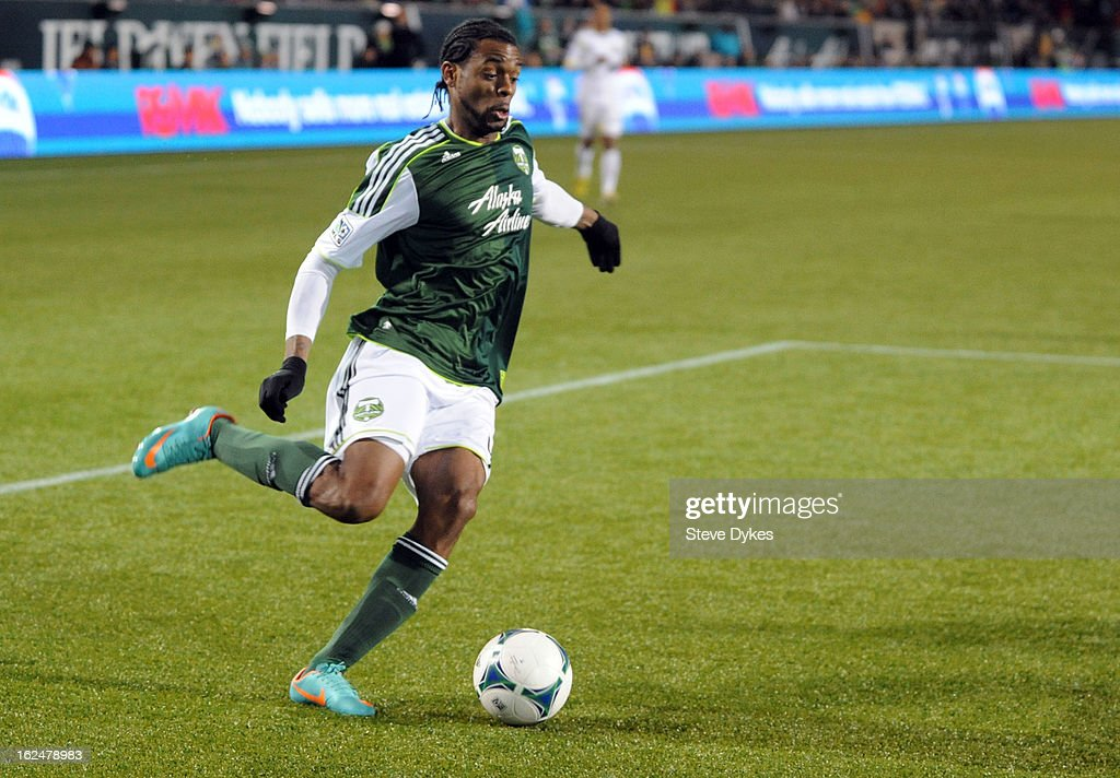 Frederic Piquionne #45 of the Portland Timbers takes the ball towards the goal during the second half of the game against AIK at Jeld-Wen Field on February 23, 2013 in Portland, Oregon. The game ended in a 1-1 draw.