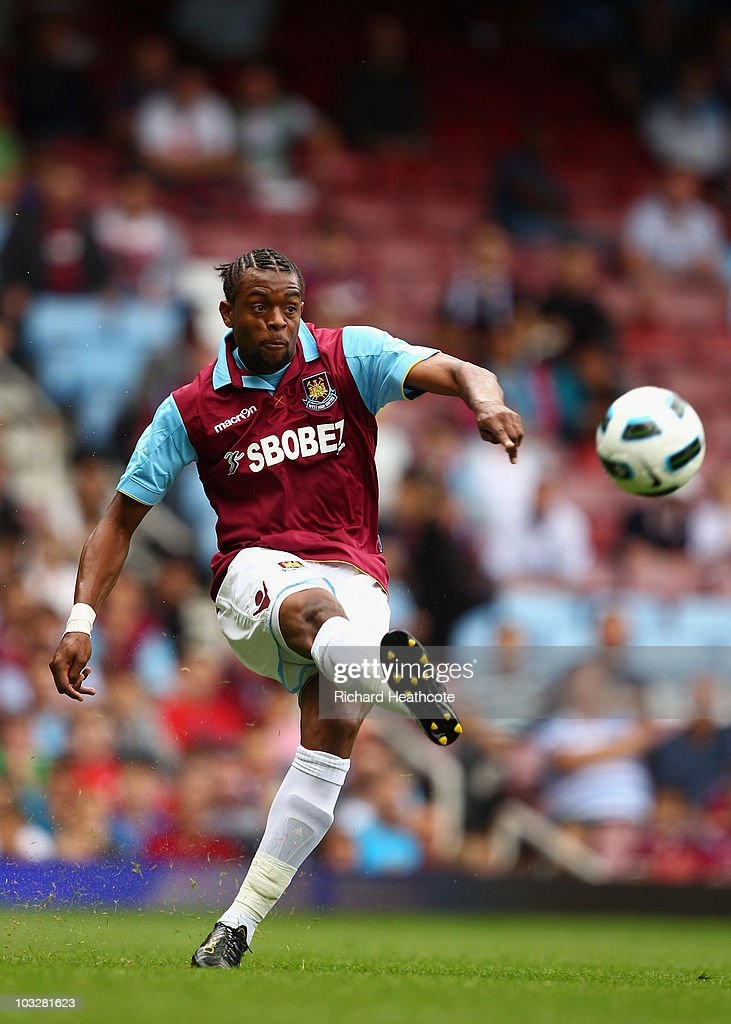 Frederic Piquionne of West Ham in action during the pre-season friendly match between West Ham United and Deportivo La Coruna at Upton Park on August 7, 2010 in London, England.