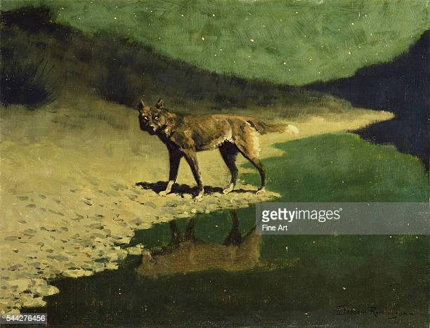 Frederic Remington Moonlight Wolf c 1909 oil on canvas 509 × 66 cm Addison Gallery of American Art Andover Massachusetts