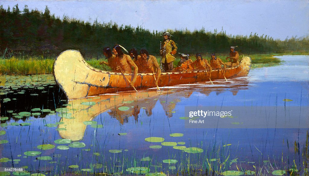 Frederic Remington Radisson and Groseilliers oil on canvas 435 × 765 cm Buffalo Bill Historical Center Cody Wyoming Depicts PierreEsprit Radisson and...
