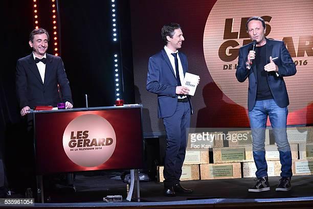 Frederic Royer Jerome De Verdire and Gerard 2016 awarded Arthur aka Jacques Essebag attend 'Les Gerard De La Television 2016' Awards Ceremony At...