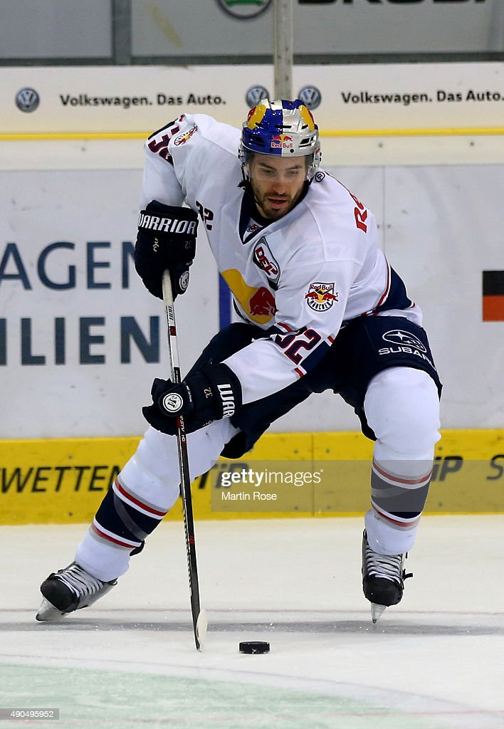 Frederic St Denis of Muenchen skates against the Grizzly Adams Wolfsburg during the DEL match between Grizzly Adams Wolfsburg and EHC Red Bull...