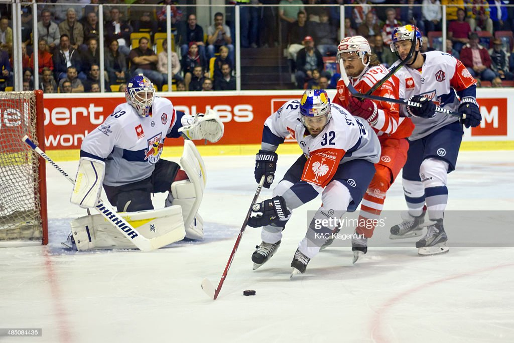 Frederic St Denis of Munich in action during the Champions Hockey League group stage game between KAC Klagenfurt and Red Bull Munich on August 23...