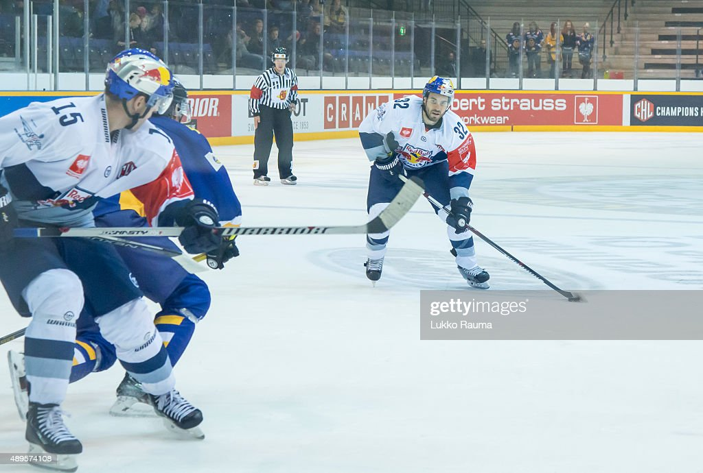 Frederic St Denis of Red Bull Munich looks for a shot during the Champions Hockey League round of thirtytwo game between Lukko Rauma and Red Bull...