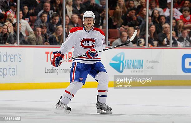 Frederic St Denis of the Montreal Canadiens skates against the Anaheim Ducks at Honda Center on November 30 2011 in Anaheim California
