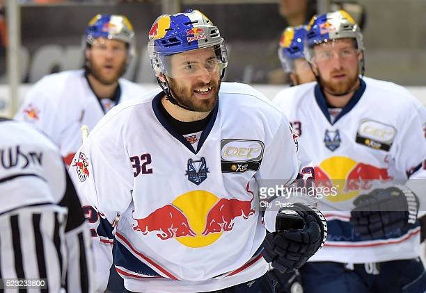 Frederic StDenis of EHC Red Bull Muenchen celebrates after scoring the 33 during the game between the Grizzlys Wolfsburg and dem EHC Red Bull...