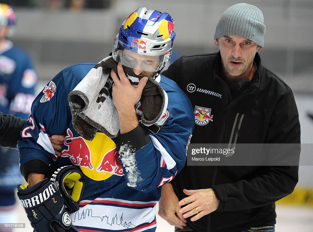 Frederic StDenis of EHC Red Bull Muenchen during the game between EHC Red Bull Muenchen and the Eisbaeren Berlin on December 13 2015 in Muenchen...