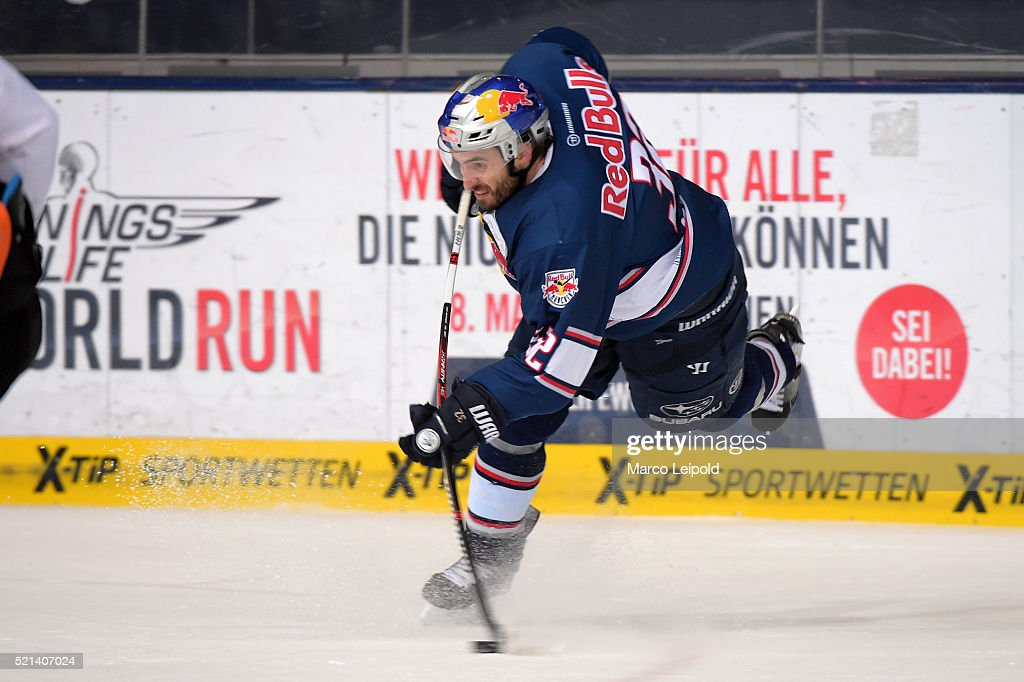 Frederic StDenis of EHC Red Bull Muenchen during the game between the EHC Red Bull Muenchen and the Grizzlys Wolfsburg on April 15 2016 in Munich...