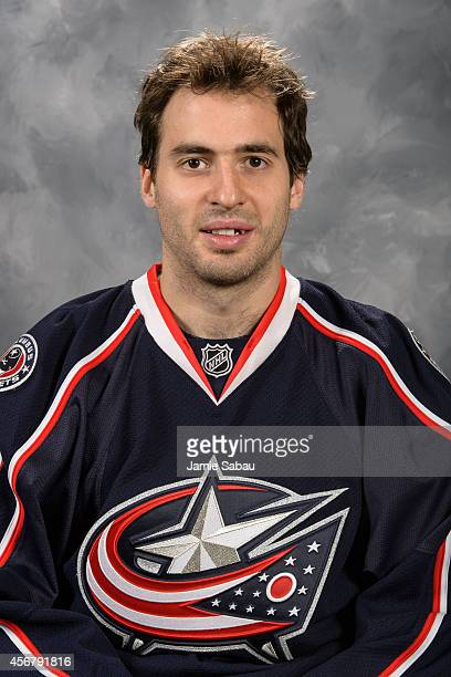 Frederic StDenis of the Columbus Blue Jackets poses for his official headshot for the 20142015 season on September 18 2014 at the Nationwide Arena in...