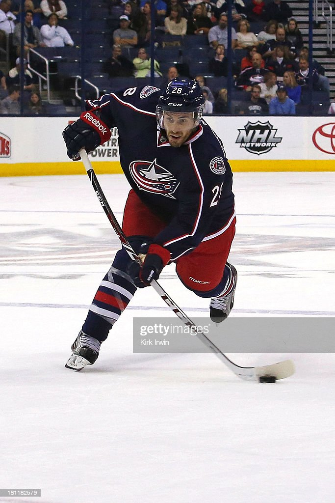 Frederic StDenis of the Columbus Blue Jackets shoots the puck during the preseason game against the Buffalo Sabres on September 2013 at Nationwide...