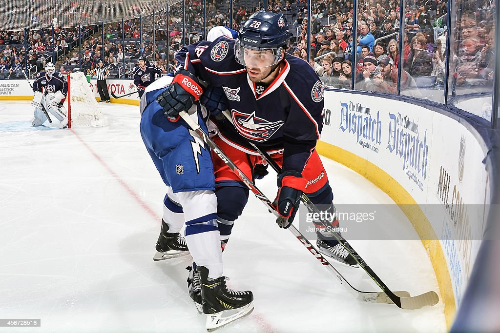 Frederic StDenis of the Columbus Blue Jackets skates against the Tampa Bay Lightning on November 8 2014 at Nationwide Arena in Columbus Ohio
