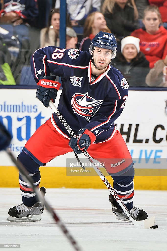 Frederic StDenis of the Columbus Blue Jackets skates with the puck against the Tampa Bay Lightning on November 8 2014 at Nationwide Arena in Columbus...