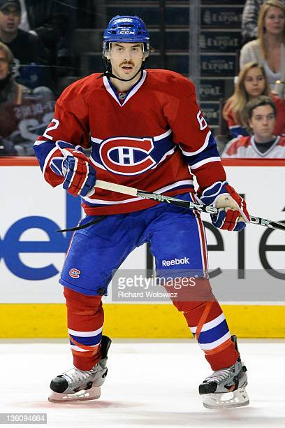 Frederic StDenis of the Montreal Canadiens skates during the NHL game against the Carolina Hurricanes at the Bell Centre on November 16 2011 in...