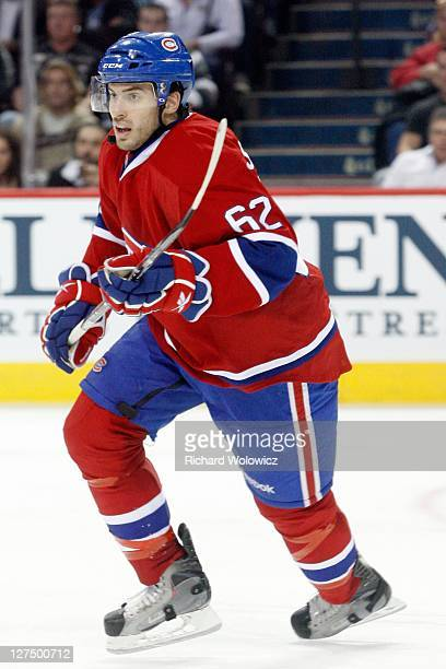 Frederic StDenis of the Montreal Canadiens skates during the NHL preseason game against the Buffalo Sabres at the Bell Centre on September 22 2011 in...