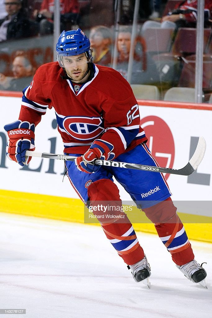 Frederic StDenis of the Montreal Canadiens skates during the the warmup up period period prior to facing the Tampa Bay Lightning in their NHL game at...