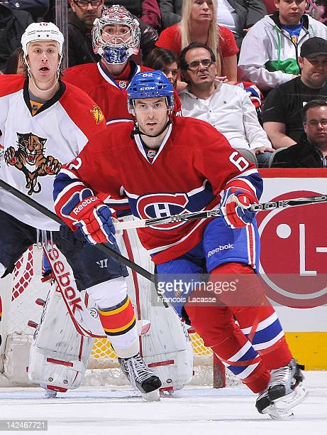 Frederic StDenis of the Montreal Canadiens skates to position during the NHL game against the Florida Panthers on March 27 2012 at the Bell Centre in...