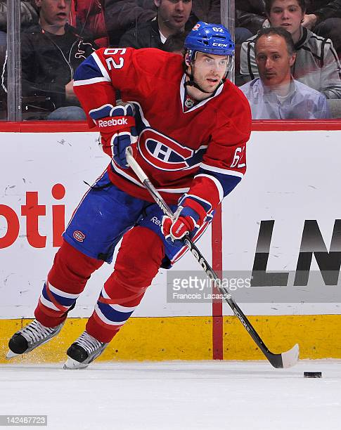 Frederic StDenis of the Montreal Canadiens skates with the puck during the NHL game against the Florida Panthers on March 27 2012 at the Bell Centre...