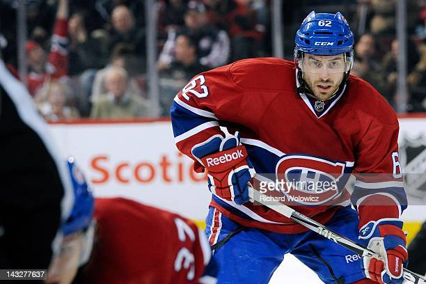 Frederic StDenis of the Montreal Canadiens waits for a faceoff during the NHL game against the Toronto Maple Leafs at the Bell Centre on April 7 2012...
