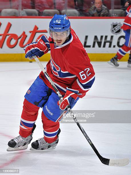 Frederic StDenis of the Montreal Canadiens warms up prior to playing the Carolina Hurricanes and his first NHL game on November 16 2011 at the Bell...
