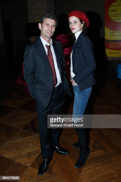 Frederic Taddei and his daughter artist Alice GrenierNebout attend the 'Bal Jaune Elastique 2017' Dinner Party at Palais Brongniart during FIAC on...