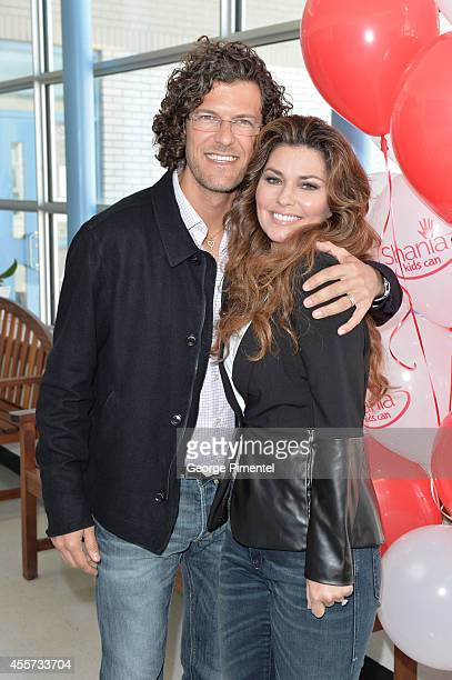 Frederic Thiebaud and Shania Twain attend The Dilawri Foundation and The Peel Board Launch for 'Shania Kids Can' Clubhouse on September 19 2014 in...