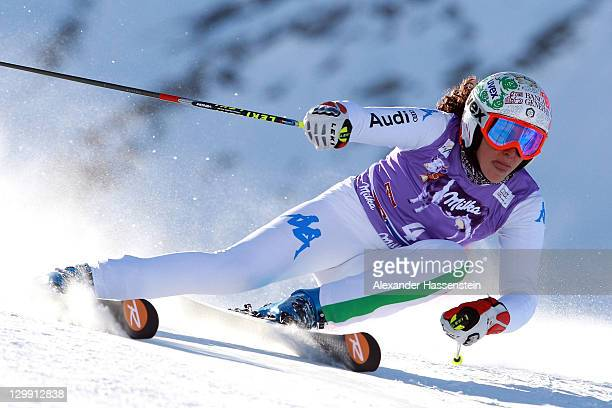 Frederica Brignone of Italy competes in the women's giant slalom event of the Woman's Alpine Skiing FIS World Cup at the Rettenbachgletscher on...