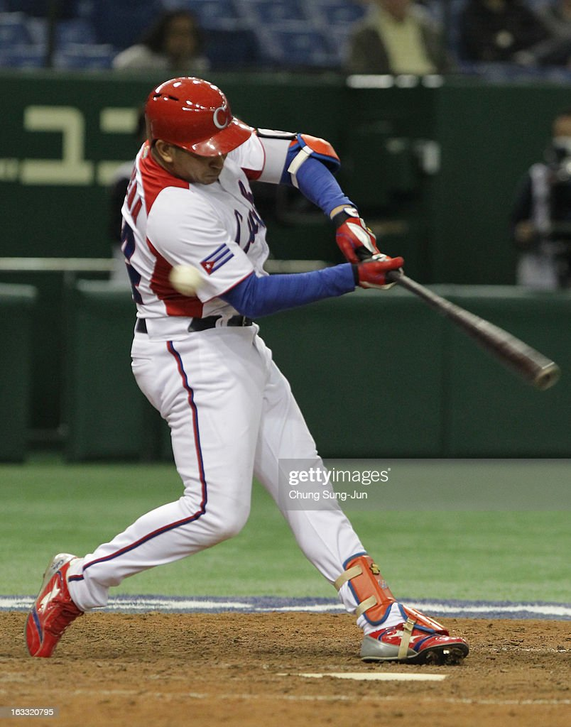 Frederich Cepeda # 24 of Cuba bats during the World Baseball Classic Second Round Pool 1 game between the Netherlands and Cuba at Tokyo Dome on March 8, 2013 in Tokyo, Japan.