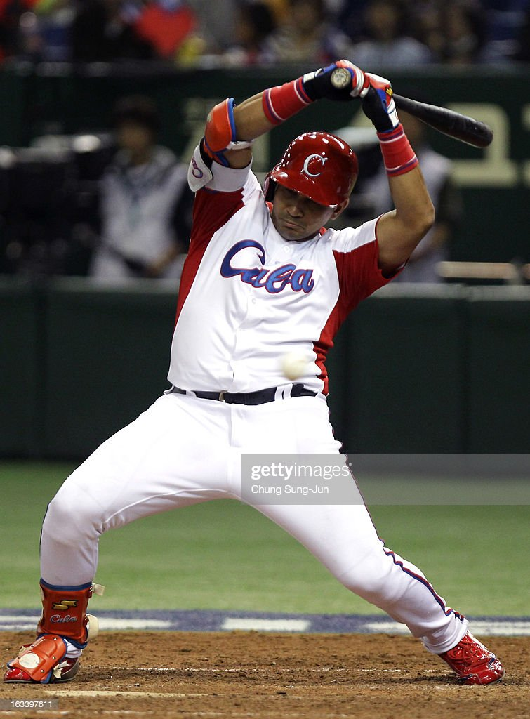 Frederich Cepeda # 24 of Cuba in action in the fifth inning during the World Baseball Classic Second Round Pool 1 game between Chinese Taipei and Cuba at Tokyo Dome on March 9, 2013 in Tokyo, Japan.