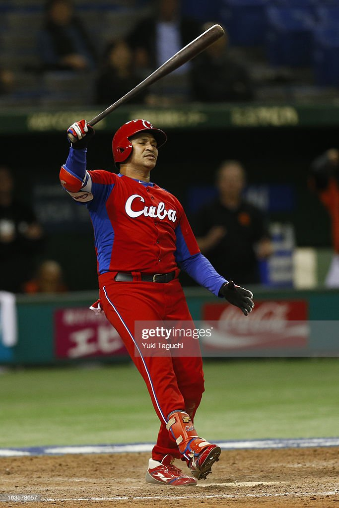 Frederich Cepeda #54 of Team Cuba reacts to striking out in the top of the ninth against Team Netherlands during Pool 1, Game 5 in the second round of the 2013 World Baseball Classic at the Tokyo Dome on March 11, 2013 in Tokyo, Japan.