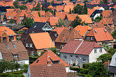 Fredericia City, Denmark, Scandinavia. High up view a beautiful hot summer day.