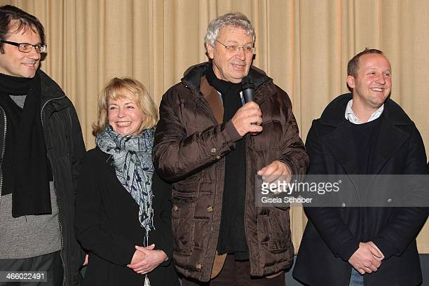 Frederick Backer Gisela Schneeberger Gerhard Polt and Maximilian Brueckner attend the premiere of the film 'Und Aektschn' at City Kino on January 30...