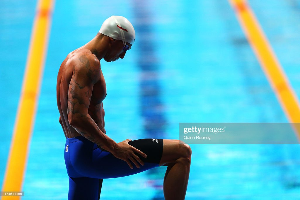 <a gi-track='captionPersonalityLinkClicked' href=/galleries/search?phrase=Frederick+Bousquet&family=editorial&specificpeople=858929 ng-click='$event.stopPropagation()'>Frederick Bousquet</a> of France prepares for the Swimming Men's 50m Butterfly Heat eight on day nine of the 15th FINA World Championships at Palau Sant Jordi on July 28, 2013 in Barcelona, Spain.