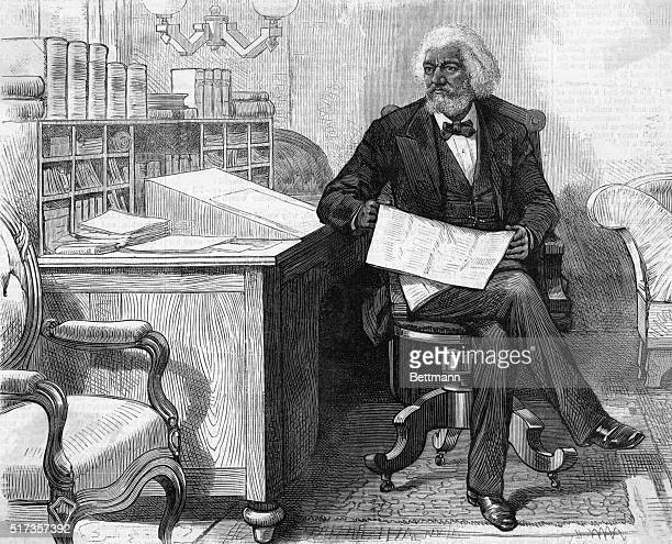 Frederick Douglass American abolitionist and writer born a slave and escaped in 1838 'our artistic correspondent interviewing FDouglass in the...