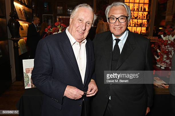 Frederick Forsyth and Sir David Tang attend a champagne reception to celebrate the launch of 'Mandarin Oriental The Book' by Assouline at Maison...