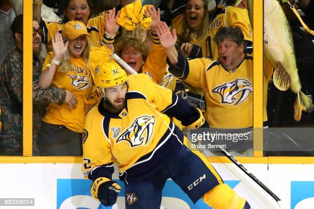 Frederick Gaudreau of the Nashville Predators celebrates after scoring a second period goal against Matt Murray of the Pittsburgh Penguins in Game...