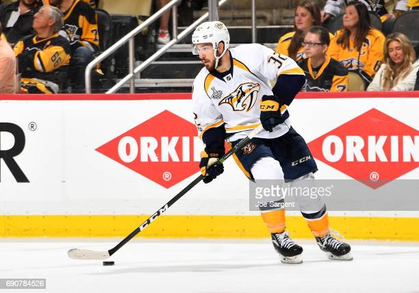 Frederick Gaudreau of the Nashville Predators skates against the Pittsburgh Penguins in Game One of the NHL Stanley Cup Final at PPG Paints Arena on...