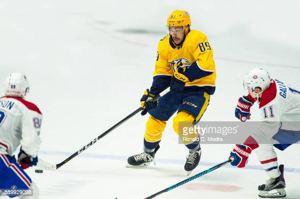 Frederick Gaudreau of the Nashville Predators skates against the Montreal Canadiens during an NHL game at Bridgestone Arena on November 22 2017 in...
