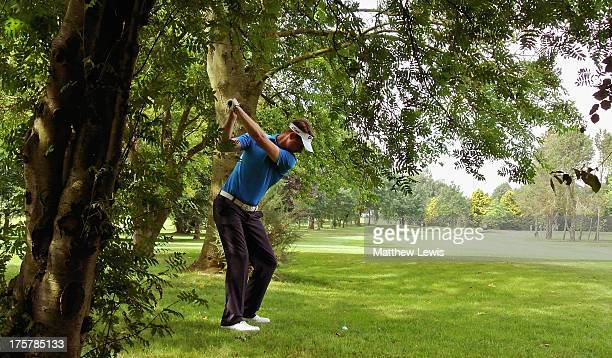 Frederick Jewsbury of Stratford on Avon Golf Club plays out of the rough on the 14th hole during the second day of the Powerade PGA Assistants'...