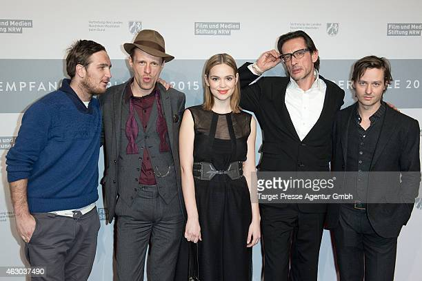 Frederick Lau Alexander Scheer Emilia Schuele Oskar Roehler and Tom Schilling attend the NRW Reception 2015 at on February 8 2015 in Berlin Germany