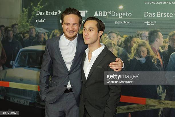 Frederick Lau and Ludwig Trepte attend the 'Bornholmer Strasse' Premiere at Kino International on October 23 2014 in Berlin Germany