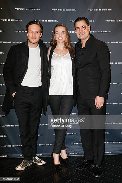 Frederick Lau Annika Lau andCEO Porsche Design Group Christian Kurtzke attend the Porsche Design Presents Innovations at the Porsche Design Store on...