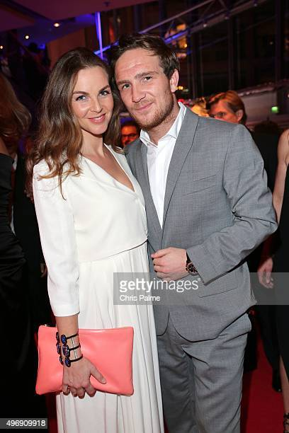 Frederic Lau wearing a Porsche Design watch and his wife Annika Kipp during the Bambi Awards 2015 after show party at Stage Theater on November 12...