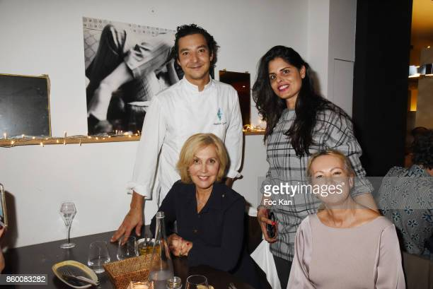 Frederick Lyard Lee Michel Fabienne Amiach and Nathalie Serero attend Olivier Michel Private Dinner Party at Sens Uniques Restaurant on October 10...