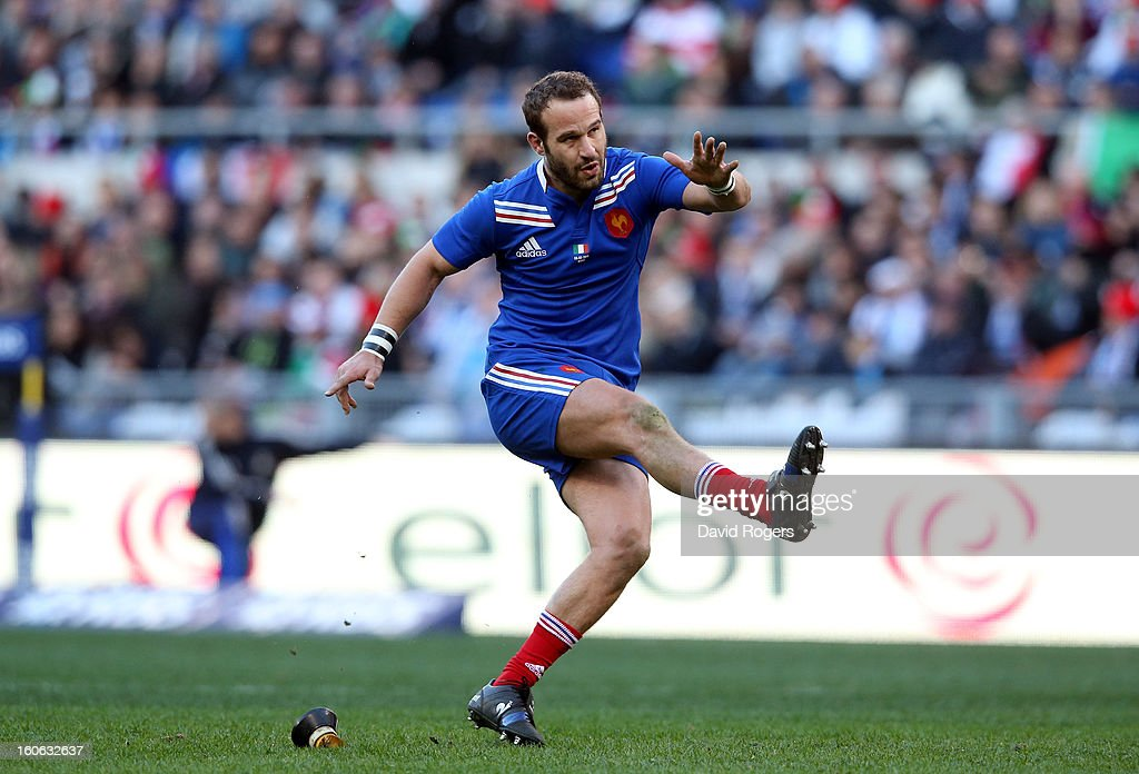 Frederick Michalak of France kicks a penalty during the RBS Six Nations match between Italy and France at Stadio Olimpico on February 3, 2013 in Rome, Italy.