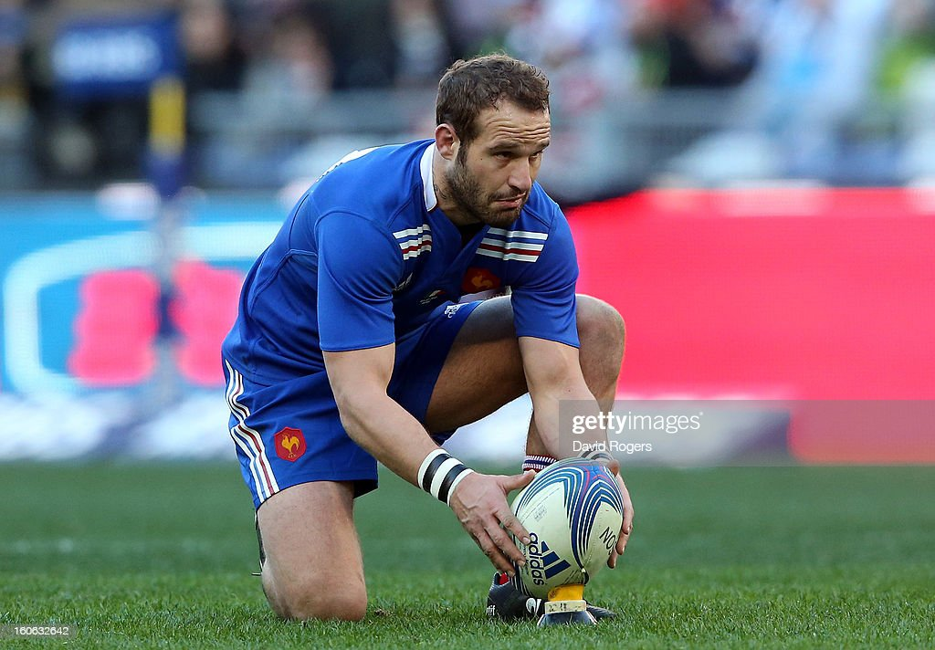Frederick Michalak of France lines up a kick during the RBS Six Nations match between Italy and France at Stadio Olimpico on February 3, 2013 in Rome, Italy.
