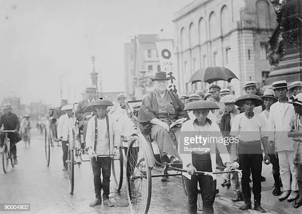 Frederick Starr on Rickshaw in Tokyo aka Ofuda Hakushi in Japan[1] was an American academic anthropologist and 'populist educator' born at Auburn New...