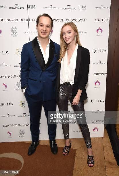 Frederick Szydlowski and Phoebe Dynevor attend the ICONIC PR LND and PerrierJouët art presention of works by Picasso Miro Matisse Chagall at QP LDN...