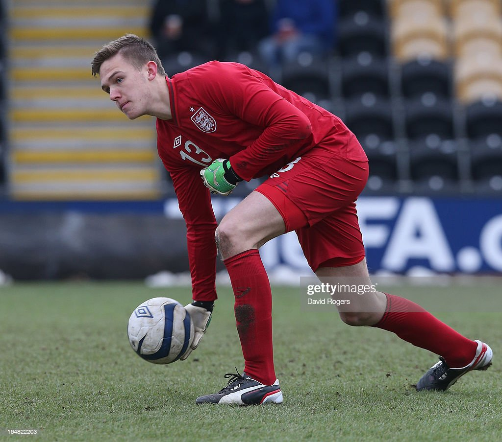 Frederick Woodman of England passes the ball during the UEFA European Under 17 Championship match between England and Slovenia at Pirelli Stadium on March 28, 2013 in Burton-upon-Trent, England.