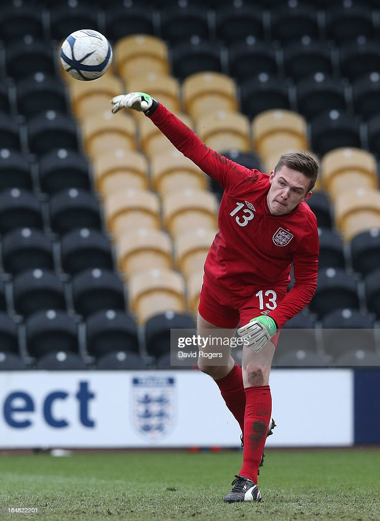 Frederick Woodman of England throws the ball during the UEFA European Under 17 Championship match between England and Slovenia at Pirelli Stadium on March 28, 2013 in Burton-upon-Trent, England.