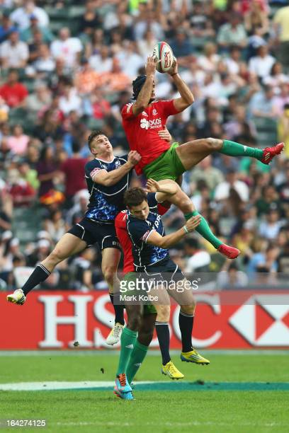 Frederico Oliveira of Portugal wins the ball from the kick off during the match between Scotland and Portugal on day one of the 2013 Hong Kong Sevens...
